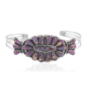 Santa Fe Style Mojave Purple Turquoise Sterling Silver Cuff (6.5 in) TGW 20.000 cts.