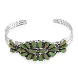 Santa Fe Style Mojave Green Turquoise Sterling Silver Cuff (6.5 in) TGW 20.00 cts.
