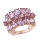 Rose De France Amethyst, Diamond 14K RG Over Sterling Silver Ring (Size 10.0) TGW 8.38 cts.