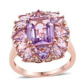 Rose De France Amethyst 14K RG Over Sterling Silver Ring (Size 9.0) TGW 7.230 cts.