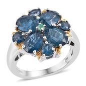 Teal Kyanite, Kagem Zambian Emerald 14K YG and Platinum Over Sterling Silver Ring (Size 8.0) TGW 8.320 cts.