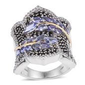 Tanzanite, Thai Black Spinel, White Topaz 14K YG and Platinum Over Sterling Silver Ring (Size 7.0) TGW 5.580 cts.