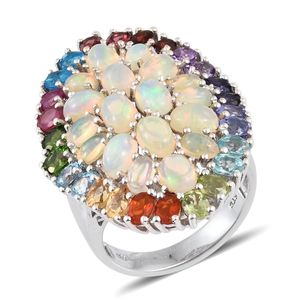 Ethiopian Welo Opal, Multi Gemstone Platinum Over Sterling Silver Ring (Size 7.0) TGW 9.250 cts.