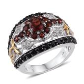 Mozambique Garnet, Thai Black Spinel, White Topaz 14K YG and Platinum Over Sterling Silver Ring (Size 7.0) TGW 4.370 cts.