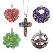 Set of 5 Murano Millefiori Glass Stainless Steel Pendants With Chain (20 in)