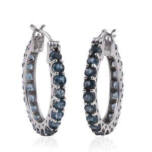 Teal Kyanite Platinum Over Sterling Silver Hoop Earrings TGW 5.60 cts.