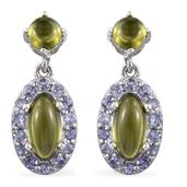 Vesuvianite, Tanzanite Platinum Over Sterling Silver Dangle Earrings TGW 3.44 Cts.