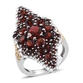 Mozambique Garnet 14K YG and Platinum Over Sterling Silver Elongated Ring (Size 5.0) TGW 7.840 cts.