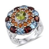 Rainbow Gems Hebei Peridot, Multi Gemstone Platinum Over Sterling Silver Ring (Size 8.0) TGW 8.090 cts.