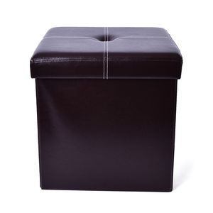 Doorbuster Brown Faux Leather Collapsible Storage Ottoman (14.9x14.9x14.9 in)