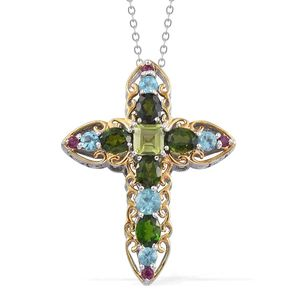 Rainbow Gems Multi Gemstone 14K YG and Platinum Over Sterling Silver Cross Pendant With Chain (20 in) TGW 3.770 cts.