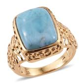 Larimar 14K YG Over Sterling Silver Ring (Size 7.0) TGW 11.550 cts.