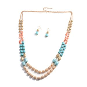 Multi Color Chroma, Glass Goldtone Earrings and Double Strand Necklace (36-38 in)