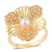 Pearl Expressions Japanese Akoya Pearl, Brazilian Citrine 14K YG Over Sterling Silver Ring (Size 5.0) TGW 2.600 cts.