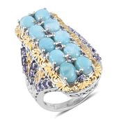 Larimar, Tanzanite 14K YG and Platinum Over Sterling Silver Openwork Elongated Ring (Size 7.0) TGW 11.87 cts.