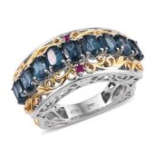 Teal Kyanite, Ruby 14K YG and Platinum Over Sterling Silver Statement Ring (Size 5.0) TGW 6.00 cts.