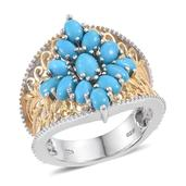 Arizona Sleeping Beauty Turquoise 14K YG and Platinum Over Sterling Silver Ring (Size 7.0) TGW 3.470 cts.