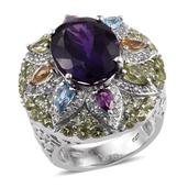 Rainbow Gems Amethyst, Multi Gemstone Platinum Over Sterling Silver Statement Ring (Size 7.0) TGW 14.120 cts.