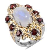 Royal Jaipur Sri Lankan Rainbow Moonstone, Mozambique Garnet, Ruby 14K YG and Platinum Over Sterling Silver Ring (Size 6.0) TGW 14.550 cts.