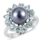Pearl Expression Tahitian Pearl, Madagascar Paraiba Apatite Sterling Silver Ring (Size 10.0) 0 TGW 2.100 cts.