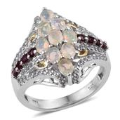 Ethiopian Welo Opal, Anthill Garnet, White Topaz 14K YG and Platinum Over Sterling Silver Ring (Size 7.0) TGW 2.190 cts.