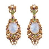 Sri Lankan Rainbow Moonstone, Multi Gemstone 14K YG Over Sterling Silver Earrings TGW 13.08 cts.