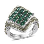 Lab Created Emerald, Hebei Peridot Platinum Over Sterling Silver Split Ring (Size 7.0) TGW 3.43 cts.