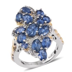 Himalayan Kyanite, White Topaz 14K YG and Platinum Over Sterling Silver Elongated Ring (Size 6.0) TGW 7.37 cts.