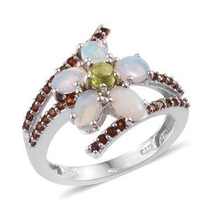 Australian White Opal, Vesuvianite, Mozambique Garnet Platinum Over Sterling Silver Floral Split Bypass Ring (Size 7.0) TGW 2.200 cts.