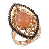 GP Peach Moonstone, Multi Gemstone 14K YG Over Sterling Silver Ring (Size 8.0) TGW 7.450 cts.