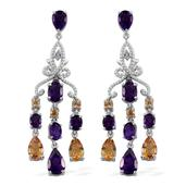 GP Amethyst, Multi Gemstone Platinum Over Sterling Silver Chandelier Earrings TGW 10.79 cts.