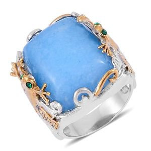 Blue Quartzite, Green Austrian Crystal ION Plated YG and Stainless Steel Ring (Size 8.0) TGW 20.500 cts.