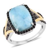 Larimar, Thai Black Spinel 14K YG and Platinum Over Sterling Silver Split Statement Ring (Size 13.0) TGW 17.30 cts.