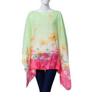 J Francis - Pistachio and Coral Floral Print 100% Polyester Poncho (58x18 in)