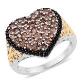 Jenipapo Andalusite, Thai Black Spinel 14K YG and Platinum Over Sterling Silver Openwork Heart Ring (Size 5.0) TGW 2.00 cts.