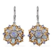 Ethiopian Welo Opal, Tanzanite 14K YG and Platinum Over Sterling Silver Lever Back Earrings TGW 2.500 Cts.