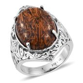Mega Clearance Indian Script Stone Stainless Steel Ring (Size 5.0) TGW 16.250 cts.