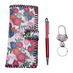 Set of 3 Floral Wallet, Key Chain, and Pen Gift Set