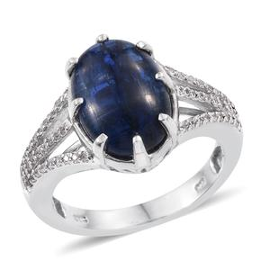 Himalayan Kyanite, White Zircon Platinum Over Sterling Silver Ring (Size 7.0) TGW 8.730 cts.