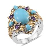 Arizona Sleeping Beauty Turquoise, Amethyst 14K YG and Platinum Over Sterling Silver Ring (Size 9.0) TGW 6.52 cts.