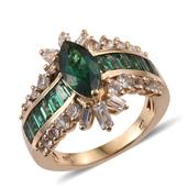 Lab Created Emerald, White Topaz 14K YG Over Sterling Silver Ring (Size 7.0) TGW 4.760 cts.