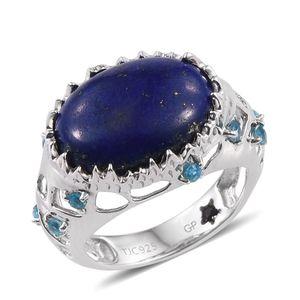 GP Lapis Lazuli, Malgache Neon Apatite, Kanchanaburi Blue Sapphire Platinum Over Sterling Silver Ring (Size 9.0) TGW 10.340 cts.