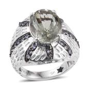 GP Green Amethyst, Multi Gemstone Platinum Over Sterling Silver Ring (Size 7.0) TGW 6.550 cts.