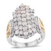 Australian White Opal, White Topaz 14K YG and Platinum Over Sterling Silver Fancy Openwork Cluster Ring (Size 7.0) TGW 3.10 cts.