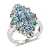 Madagascar Paraiba Apatite 14K YG and Platinum Over Sterling Silver Ring (Size 5.0) TGW 3.820 cts.
