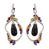 GP Brazilian Smoky Quartz, Multi Gemstone 14K YG Over Sterling Silver Earrings TGW 16.080 cts.