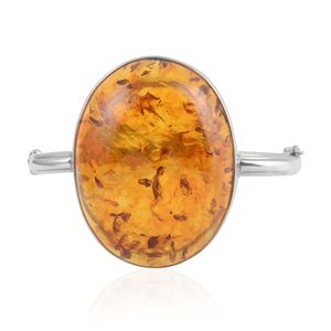 Baltic Amber Sterling Silver Bangle (7.25 In)