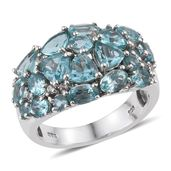 Madagascar Paraiba Apatite, White Topaz Platinum Over Sterling Silver Ring (Size 5.0) TGW 5.36 cts.