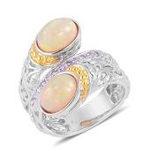 Ethiopian Welo Opal, Tanzanite 14K YG Over and Sterling Silver Bypass Ring (Size 6.0) TGW 2.92 cts.