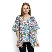 J Francis - White and Blue Floral Print 100% Cotton Kimono (37x29 in)